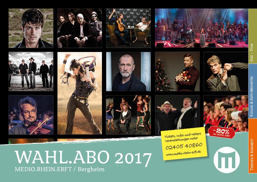 WAHL.ABO: Beim gleichzeitigen Kauf von Eintrittskarten für mindestens fünf Veranstaltungen aus unserem Programmangebot erhalten Sie einen Preisvorteil von 20%.