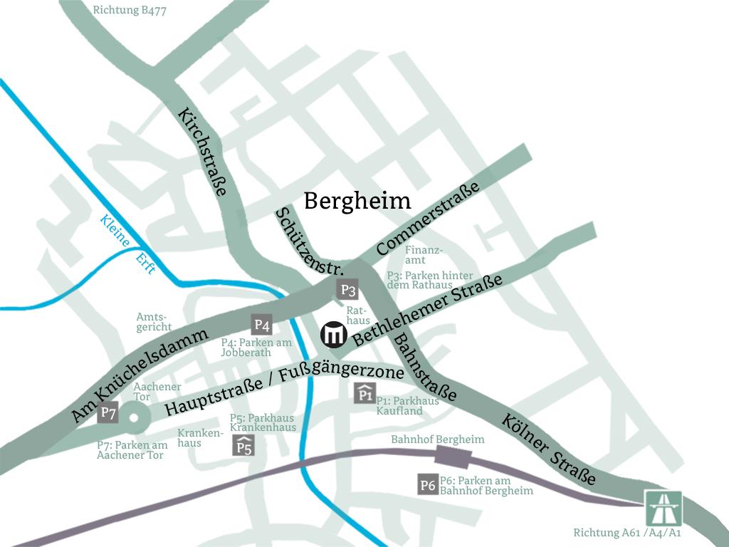 Anfahrt und Parkplätze Medio, Bergheim